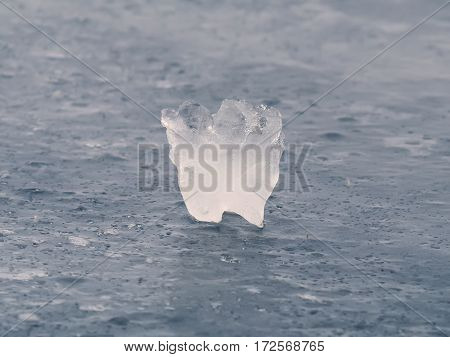 The floe in the ice looking like a tooth
