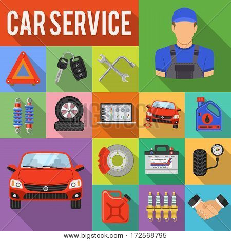 Car Service Flat Icons Set with Laptop, Brake, Battery, Jack and Mechanic with Long Shadows. isolated vector illustration
