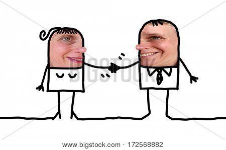 Cartoon people - businessman and woman handshake