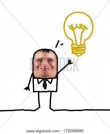 Cartoon people - businessman and lightbulb