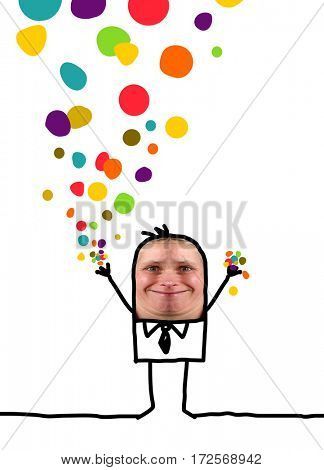 Cartoon people - Happy man with confetti