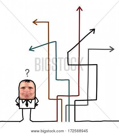 Cartoon people - businessman choosing direction