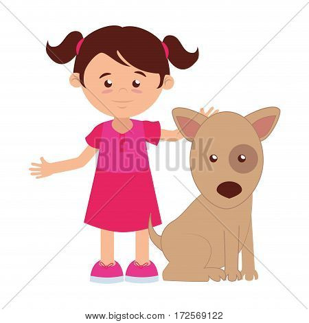 girl with cute dog mascot icon vector illustration design