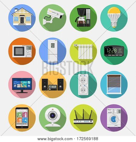 Smart House and internet of things Flat Icons Set with smartphone, tablet, security camera, router light bulb and smart tv on colored circles with Long Shadows. Isolated vector illustration