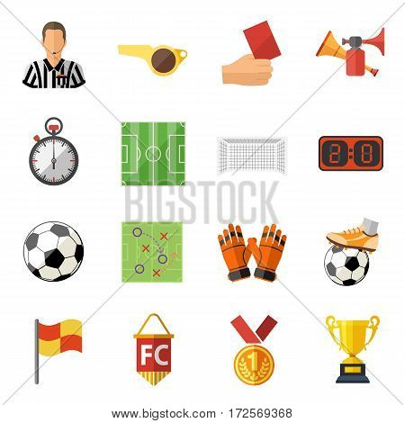 Soccer and Football Flat Icon Set with Referee, Ball, stadium and Trophy. isolated vector illustration