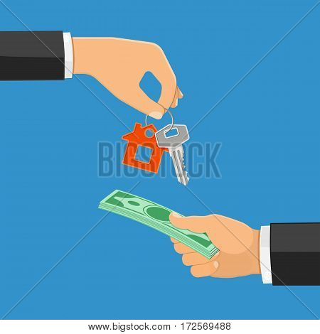 Hand with money and hand with house keys flat icons. sale, purchase, lease, rent of real estate concept. isolated vector illustration