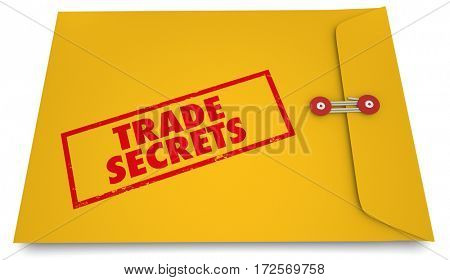 Trade Secrets Yellow Envelope Confidential Business 3d Illustration