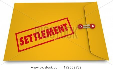 Settlement Legal Deal Agreement Envelope Stamp 3d Illustration