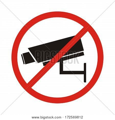 No security camera sign. flat vector illustration