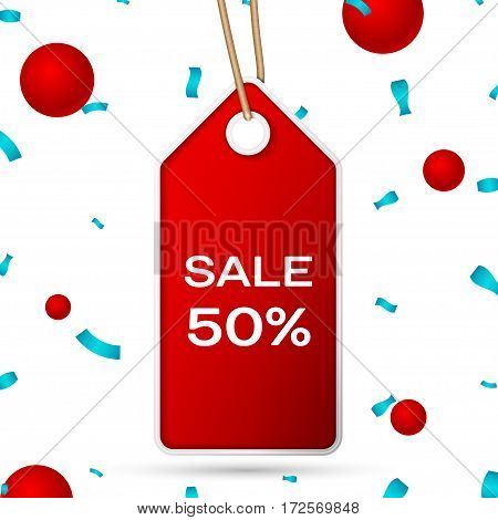 Red pennant with an inscription Big Sale fifty percent Discounts over a white background and confetti. Sale concept for shops store market, web and other commerce. Vector illustration.