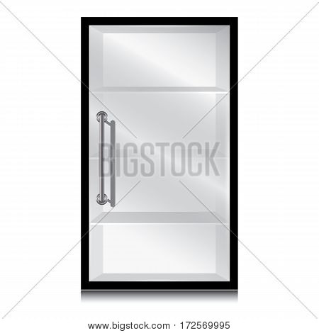 Black cabinet and glass door with the door handle on a white background.