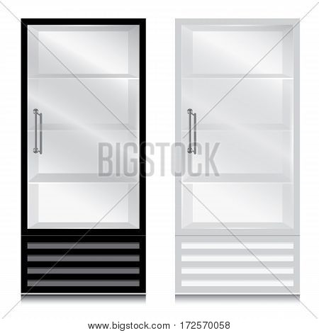 Glass door fridge with door handle open on the right. Glass door fridge Black and White on white background.
