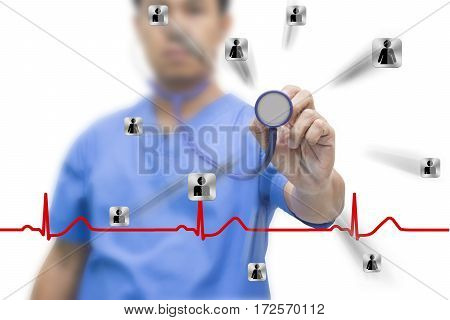 man asia doctor show stethoscope icon human red EKG wave and cliping path