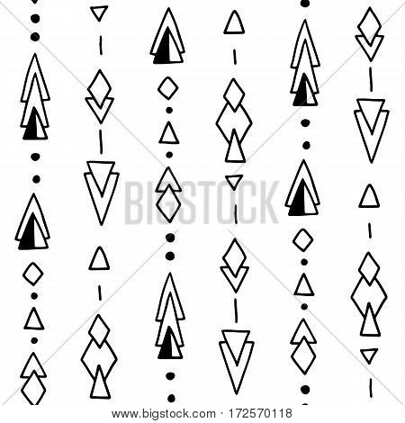 Seamless hand drawn geometric tribal pattern with rhombuses, triangles, squares and circles. Vector aztec design illustration.