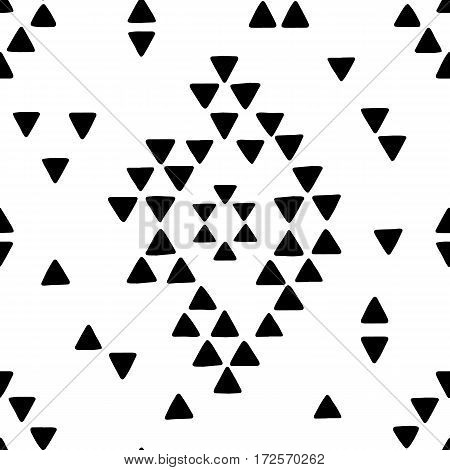 Seamless hand drawn geometric tribal pattern with rhombuses and triangles. Vector navajo design illustration.