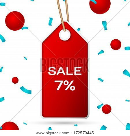 Red pennant with an inscription Big Sale seven percent Discounts over a white background and confetti. Sale concept for shops store market, web and other commerce. Vector illustration.