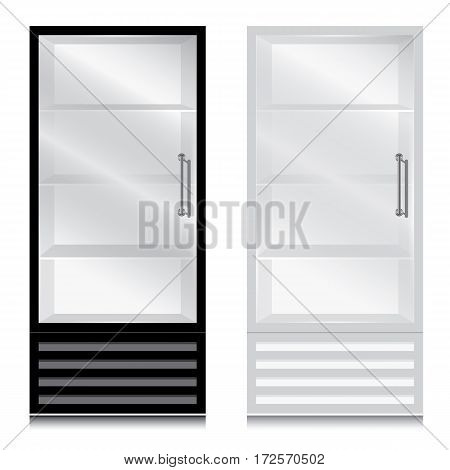 Glass door fridge with door handle. Glass door fridge Black and White on white background.