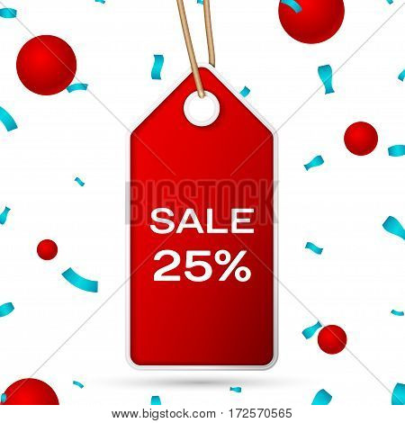Red pennant with an inscription Big Sale twenty five percent Discounts over a white background and confetti. Sale concept for shops store market, web and other commerce. Vector illustration.