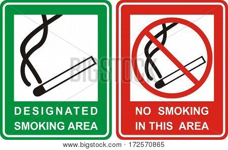 No smoking and Smoking area sign set . Vector illustration