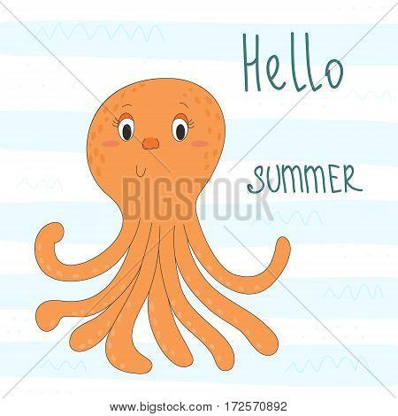 Cute hand drawn octopus in cartoon style. vector print.