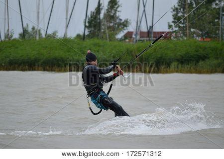 Kitesurfer at Lake Neusiedl - summer sports