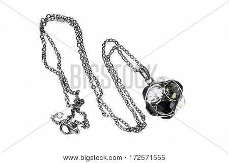 Necklace with a crystal ball pendant on white background