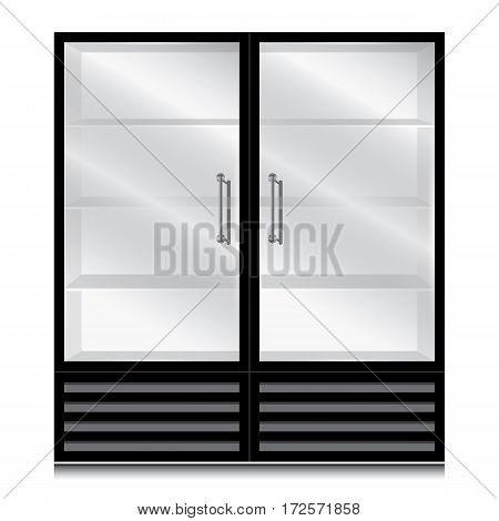 Glass door fridge with door handle open on the right and left. Glass door fridge Black on white background.