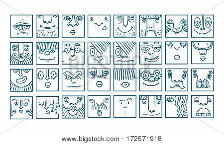 People face cartoon vector icons. Doodle avatars. Big collection of people emotions for social activities. Linear art caricatures. Fun human characters. Different expression set. poster