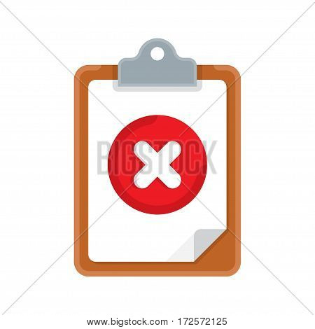 clipboard with mark about refusal. Vector illustration