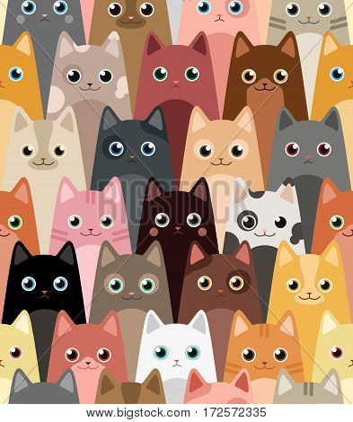 Cats. Cartoon vector seamless wallpaper. Colorful pattern