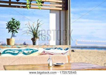 Beach Cafe in Barcelona Platja Nova Icaria or Barceloneta Catalunya
