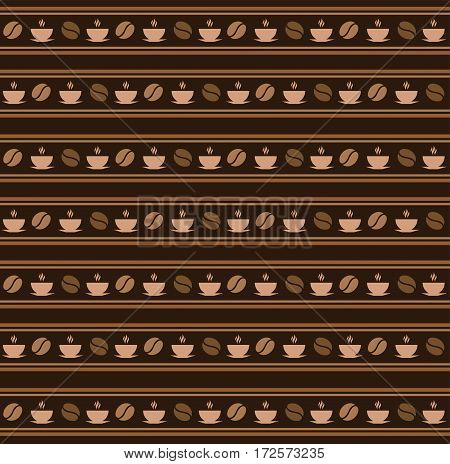 Seamless coffee pattern. Cartoon vector brown background