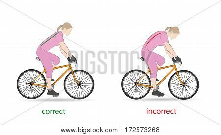 correct and incorrect posture for cycling. vector illustration.