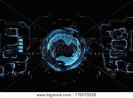 HUD interface concept futuristic virtual graphic touch user. Futuristic user interface. Element user interface. HUD. hi-tech main. Earth Hologram
