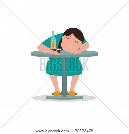 Vector illustration cartoon drunken woman sleeping on a table. Isolated white background. Concept female alcoholism. Flat style. Sleeping drunk lady. Icon woman alcoholic. Heavy alcohol intoxication.