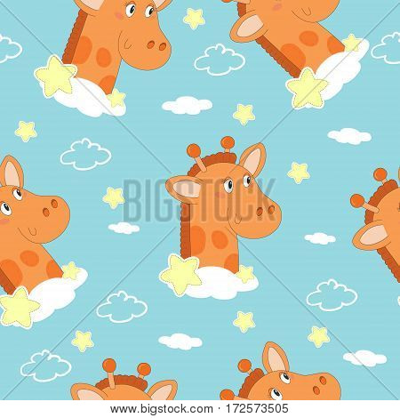 Cute hand drawn giraffe with clouds vector illustration. Pattern print for kids