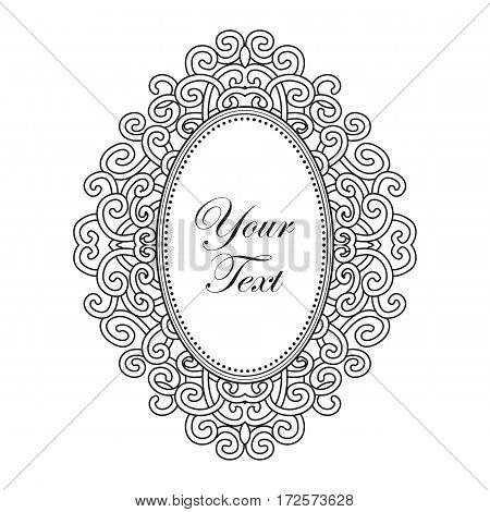 baroque black frame with exclusive oval ornament, decorative vintage design elements with text