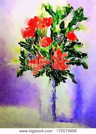 A beautiful Watercolor Vase with red Flowers