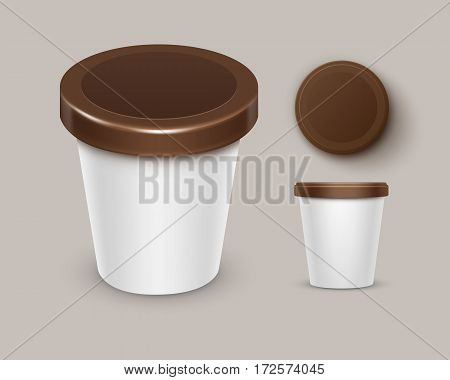 Vector Set of White Brown Blank Food Plastic Tub Bucket Container For Chocolate Dessert, Yogurt, Ice Cream with Label for Package Design Mock Up Close up Top Side View Isolated on Background. 3D