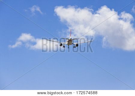 Airplane landing at the international Pisa airport