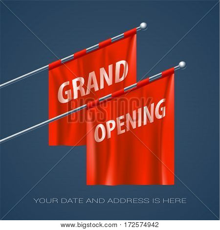 Grand opening vector backdrop for new store. Template design element for opening ceremony can be used as banner or invitation