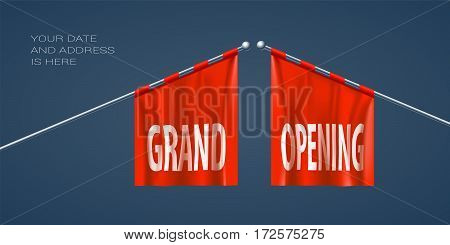 Grand opening vector illustration for new store. Template design element for opening event can be used as banner or background