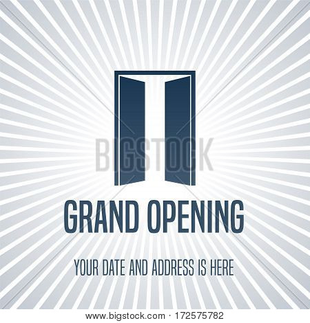 Grand opening vector illustration, background with open door. Template design element for opening event can be used as banner