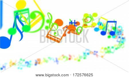 An abstract blurred background with Colorful Music notes.