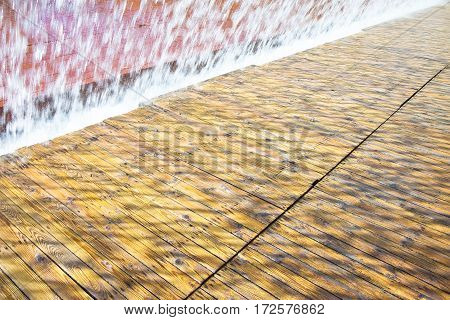 Water jets of a modern fountain - East district Lisbon Portugal