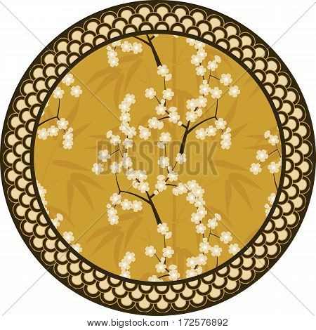 Japanese round pattern with bamboo, sakura and traditional ornaments. Vector illustration