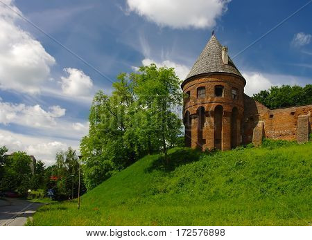 Old Tower Of Benedictine Abbey In Jaroslaw. Poland
