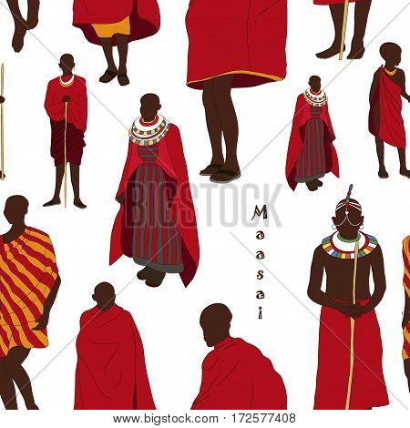 Maasai couple african people pattern in traditional clothing. Vector illustration, EPS 10