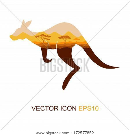 Silhouette of a kangaroo. Logo. The flat icon with the image of a kangaroo. View kangaroos from the side. African nature. Wild nature. Vector illustration.