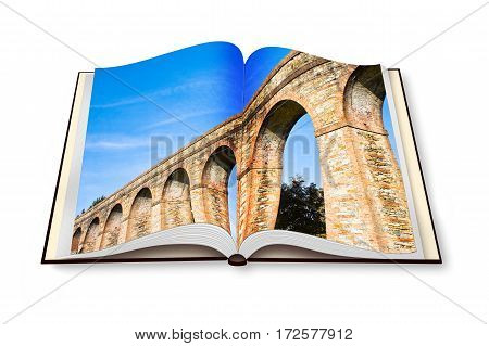 Roman aqueduct in the Italian city of Lucca - Opened photobook isolated on white background - concept image